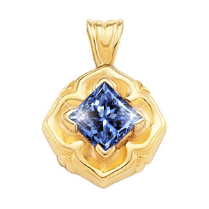 Princess Cut Solitaire 18K White Gold Pendant with Blue Diamond
