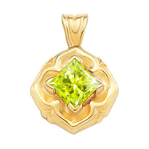 Princess Cut Solitaire 18K White Gold Pendant with Greenish-Yellow Diamond