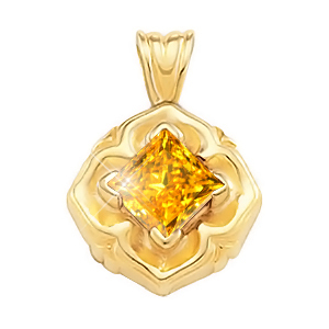 Princess Cut Solitaire 18K Yellow Gold Pendant with Orange-Yellow Diamond