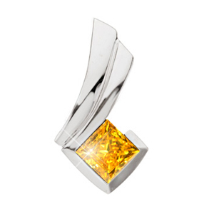 Fancy Princess Cut Chain Slide 14K White Gold Pendant with Orange-Yellow Diamond