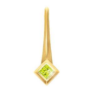 Petite Princess Cut Solitaire 18K Yellow Gold Pendant with Greenish-Yellow Diamond