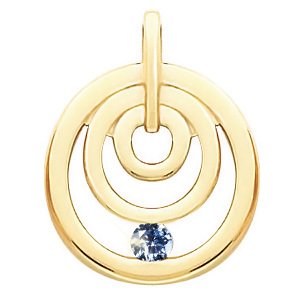 Channel Set Circle 14K White Gold Pendant with Blue Diamond