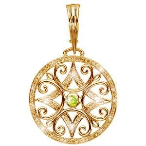 Created diamonds antique round cut center 18k yellow gold pendant antique round cut center 18k yellow gold pendant with fancy greenish yellow diamond aloadofball Gallery