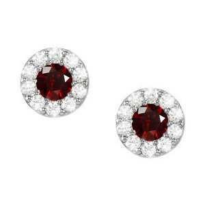 Round Cluster 18K White Gold Earrings with Fancy Deep Red Diamonds