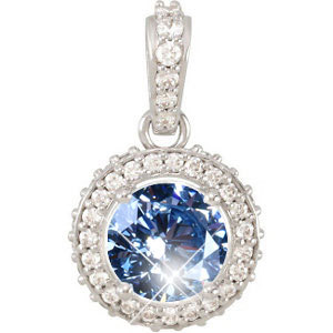 Round Cut Center 18K Yellow Gold Pendant with Fancy Blue Diamond