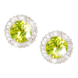 4-prong Round Cut 14K Yellow Gold Earrings with Fancy Greenish-Yellow Diamonds