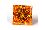 0.37 carat Princess cut Fancy Vivid Yellow Orange diamond