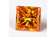 0.31 carat Princess cut Fancy Vivid Yellow Orange diamond