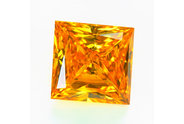 0.46 carat Princess cut Fancy Orange Yellow diamond