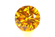 0.27 carat Round cut Fancy Vivid Orange Yellow diamond