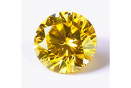 0.27 carat Round cut Fancy Vivid Yellow Greenish diamond