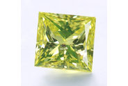 0.34 carat Princess cut Fancy Intense Greenish Yellow diamond