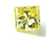 0.52 carat Princess cut Fancy Greenish Yellow diamond