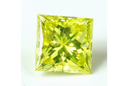 0.47 carat Princess cut Fancy Vivid Greenish Yellow diamond