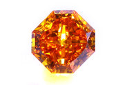 0.84 carat Radiant cut Fancy Deep Yellow Orange diamond