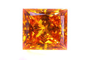 1.56 carat Princess cut Fancy Deep Orange Yellow diamond