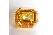 2.15 carat Emerald cut Fancy Intense Orange Yellow diamond